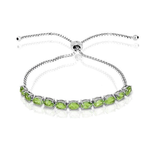 Sterling Silver Peridot 6x4mm Oval-cut Adjustable Tennis Bracelet