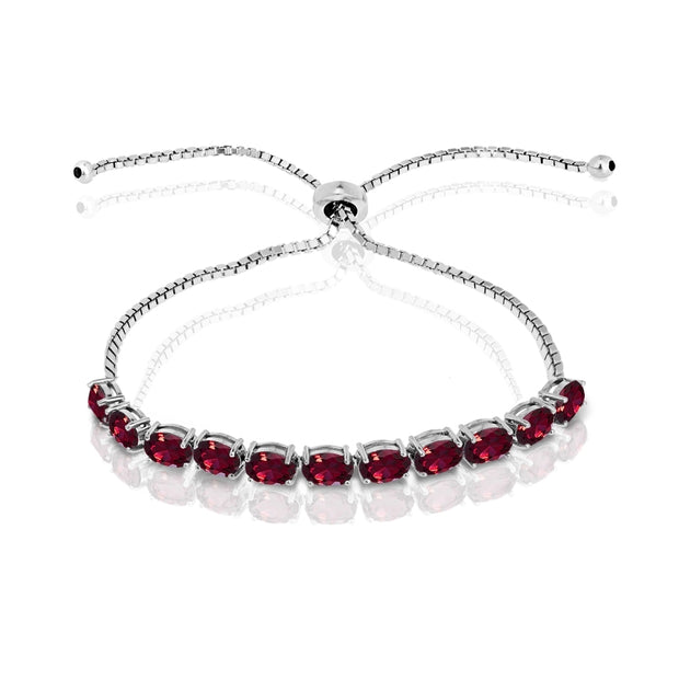 Sterling Silver Created Ruby 6x4mm Oval-cut Adjustable Tennis Bracelet