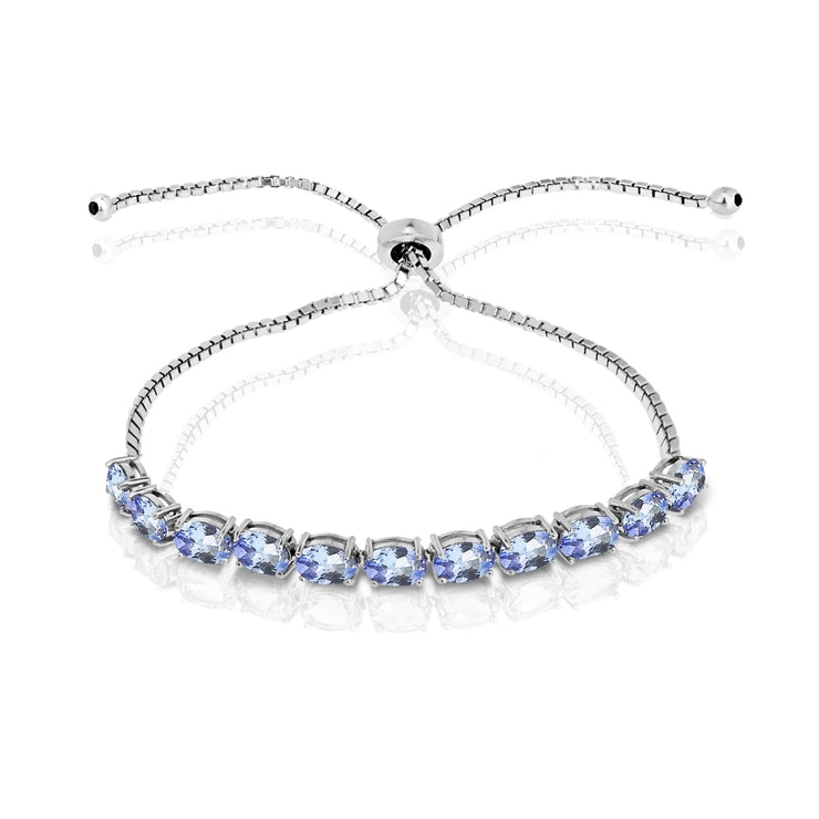 Sterling Silver Tanzanite 6x4mm Oval-cut Adjustable Tennis Bracelet
