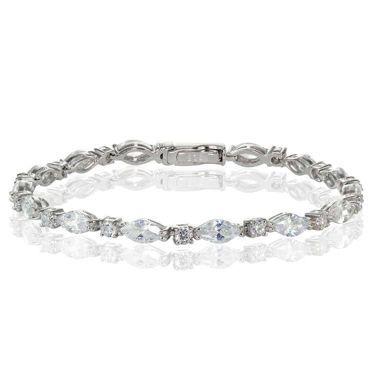 Sterling Silver Cubic Zirconia Marquise and Oval-cut Tennis Bracelet