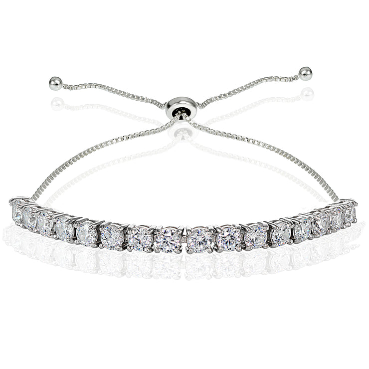 Sterling Silver Cubic Zirconia 4mm Round-cut Adjustable Bracelet