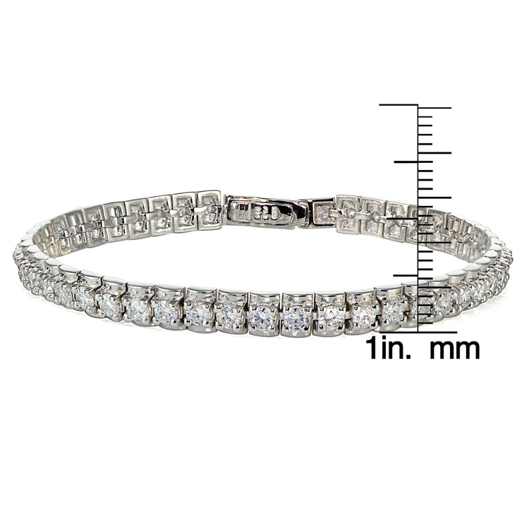 Sterling Silver Cubic Zirconia 3mm Bar Tennis Bracelet