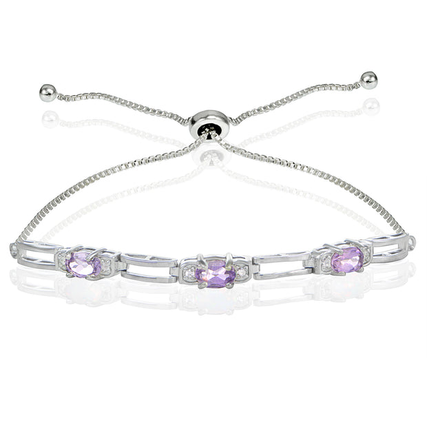 Sterling Silver Amethyst and Cubic Zirconia Link Adjustable Bracelet