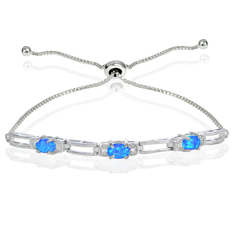 Sterling Silver Created Blue Opal and Cubic Zirconia Link Adjustable Bracelet