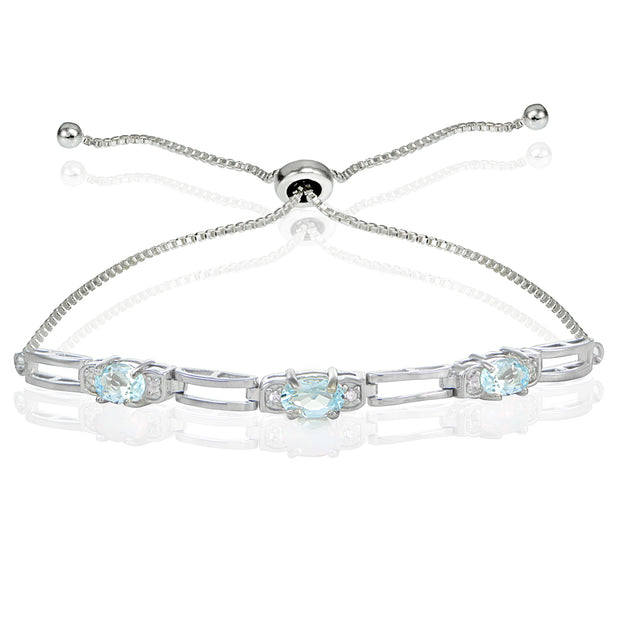 Sterling Silver Blue Topaz and Cubic Zirconia Link Adjustable Bracelet