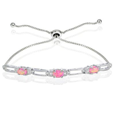 Sterling Silver Created Pink Opal and Cubic Zirconia Link Adjustable Bracelet