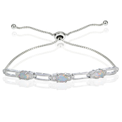 Sterling Silver Created Opal and Cubic Zirconia Link Adjustable Bracelet