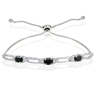 Sterling Silver Sapphire and Cubic Zirconia Link Adjustable Bracelet