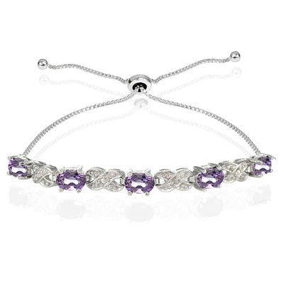 Sterling Silver Amethyst and Diamond Accent Infinity Adjustable Bracelet