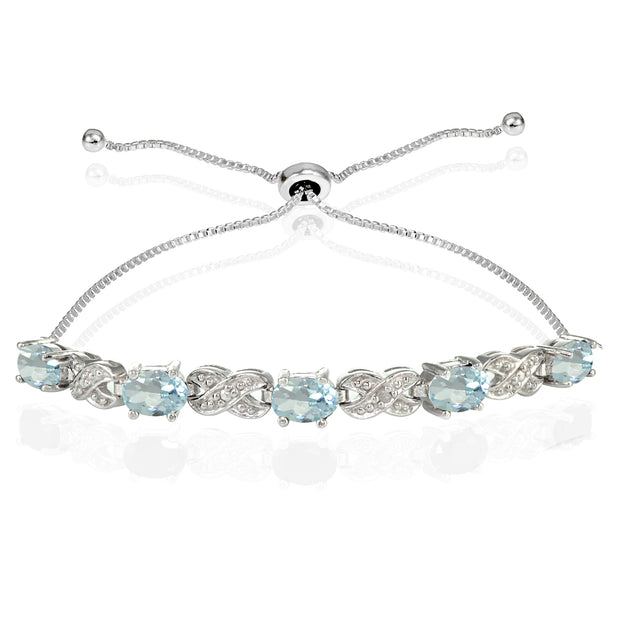 Sterling Silver Blue Topaz and Diamond Accent Infinity Adjustable Bracelet