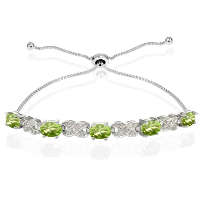 Sterling Silver Peridot and Diamond Accent Infinity Adjustable Bracelet