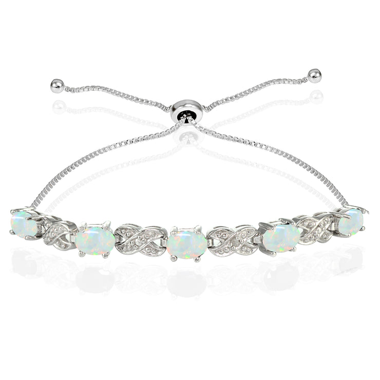Sterling Silver Created Opal and Diamond Accent Infinity Adjustable Bracelet