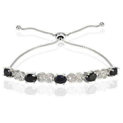 Sterling Silver Sapphire and Diamond Accent Infinity Adjustable Bracelet