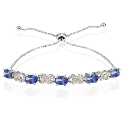 Sterling Silver Tanzanite and Diamond Accent Infinity Adjustable Bracelet