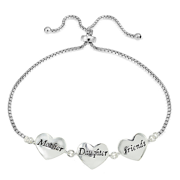 Sterling Silver MOM DAUGHTER FRIENDS Polished Heart Adjustable Bracelet