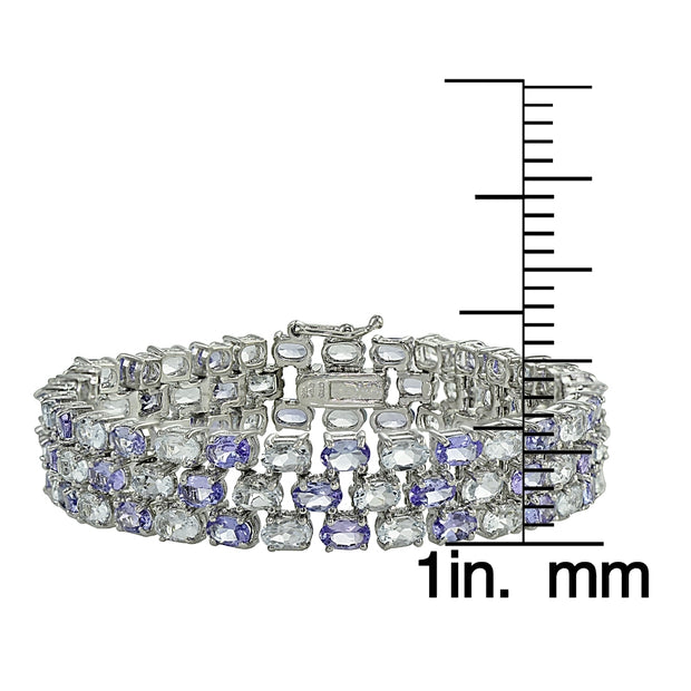 Sterling Silver Tanzanite and Aquamarine Three-tier Bracelet