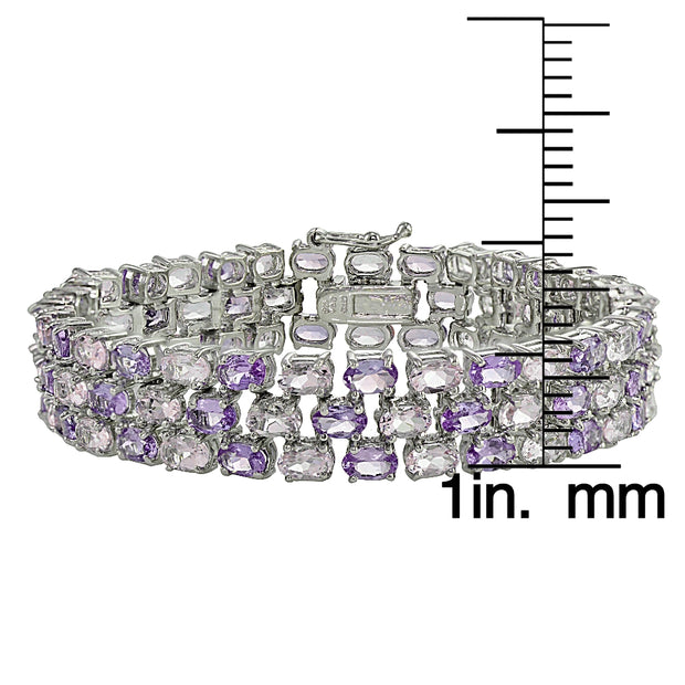 Sterling Silver African Amethyst and Amethyst Three-tier Bracelet