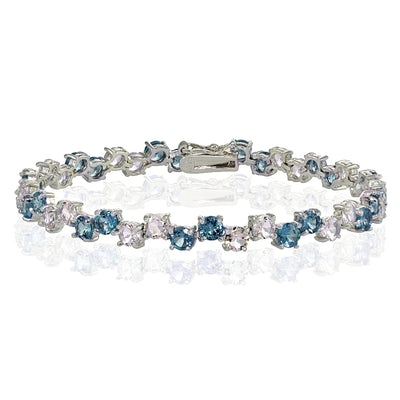 Sterling Silver 4mm London Blue Topaz and Tanzanite Round Bracelet