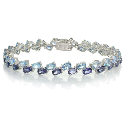 Sterling Silver Tanzanite and Aquamarine 2-row Bracelet