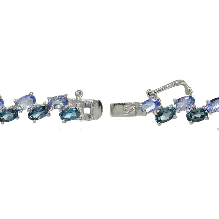Sterling Silver Tanzanite and London Blue Topaz 2-row Bracelet