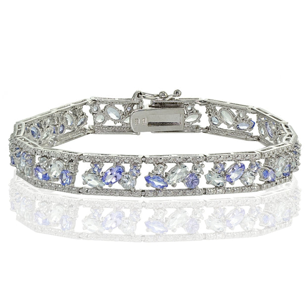 Sterling Silver Tanzanite and Aquamarine Cluster Bracelet