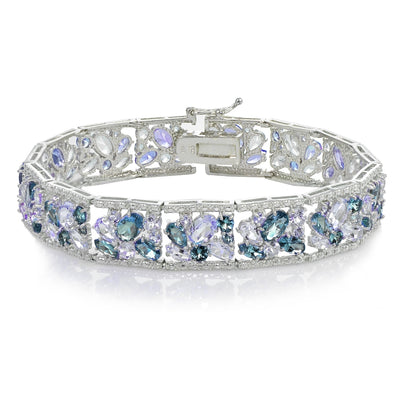 Sterling Silver Tanzanite and London Blue Topaz Cluster Bracelet