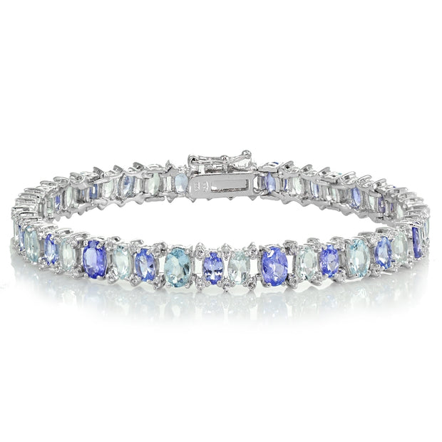 Sterling Silver Tanzanite, Aquamarine and White Topaz Oval Bracelet