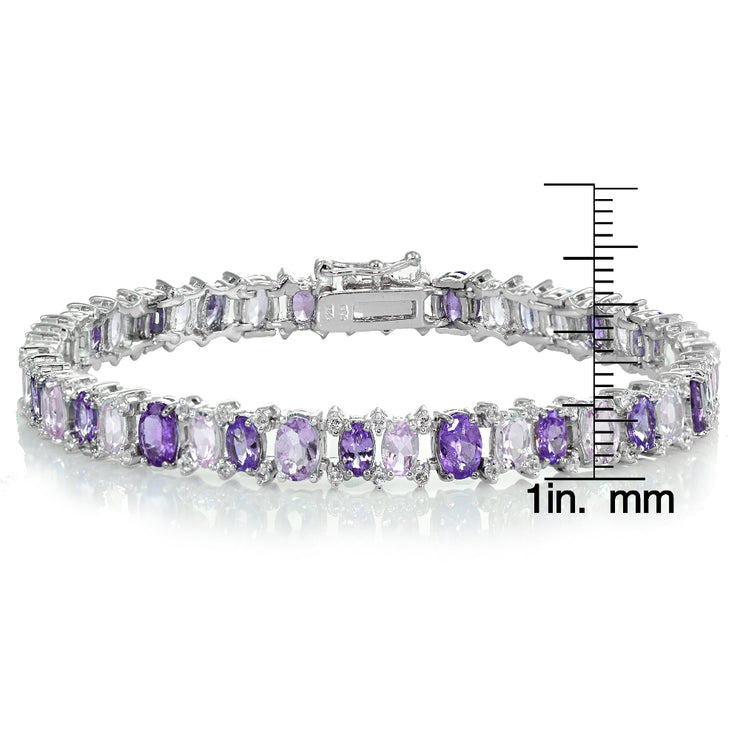 Sterling Silver African Amethyst, Amethyst and White Topaz Oval Bracelet