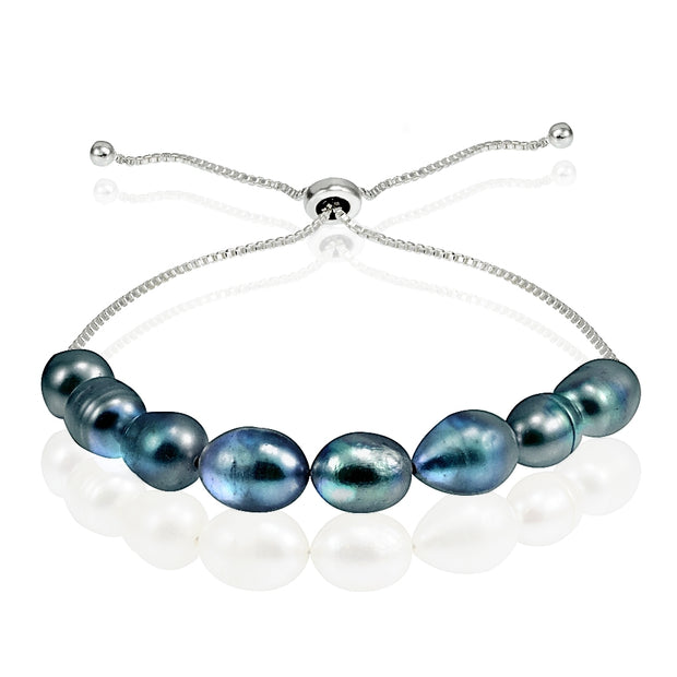 Sterling Silver Peacock Freshwater Cultured Pearl Adjustable Bracelet