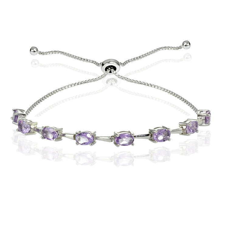 Sterling Silver Amethyst Oval Adjustable Bolo Bracelet