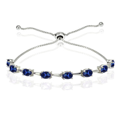 Sterling Silver Created Blue Sapphire Oval Adjustable Bolo Bracelet