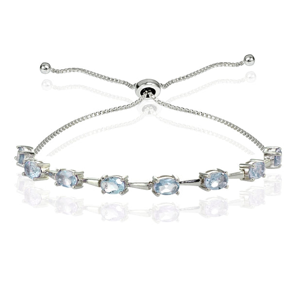 Sterling Silver Blue Topaz Oval Adjustable Bolo Bracelet