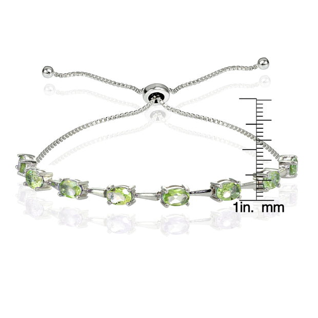 Sterling Silver Peridot Oval Adjustable Bolo Bracelet