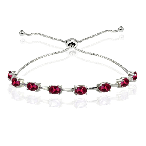 Sterling Silver Created Ruby Oval Adjustable Bolo Bracelet
