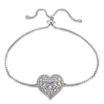 Sterling Silver Amethyst and White Topaz Filigree Heart Adjustable Bracelet