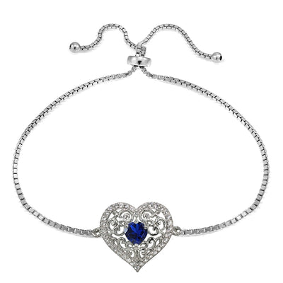Sterling Silver Created Blue Sapphire and White Topaz Filigree Heart Adjustable Bracelet