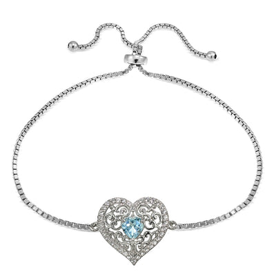 Sterling Silver Blue and White Topaz Filigree Heart Adjustable Bracelet