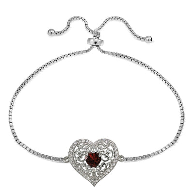 Sterling Silver Garnet and White Topaz Filigree Heart Adjustable Bracelet