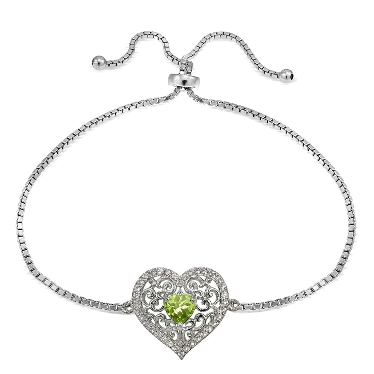 Sterling Silver Peridot and White Topaz Filigree Heart Adjustable Bracelet