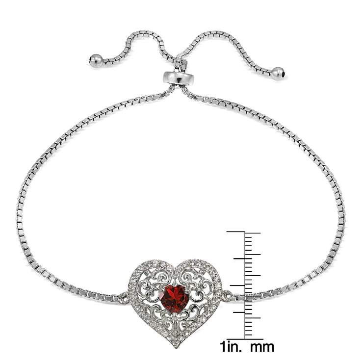 Sterling Silver Created Ruby and White Topaz Filigree Heart Adjustable Bracelet