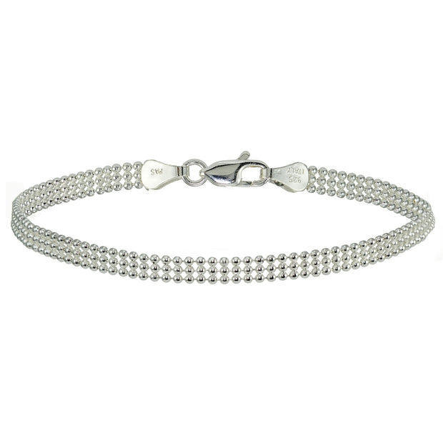 Sterling Silver 3.5mm Polished Mesh Design Bracelet