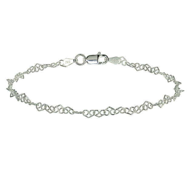 Sterling Silver 3.5mm Intertwining Hearts Link Chain Bracelet