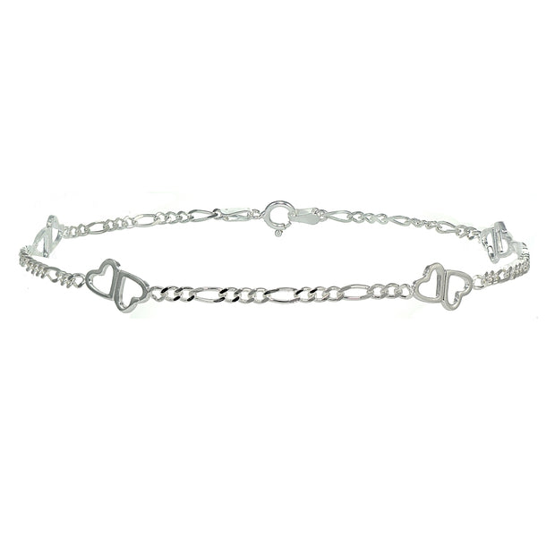 Sterling Silver Figaro Link Chain with Double Hearts Bracelet
