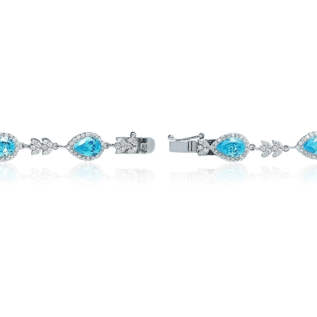 Sterling Silver Light Blue Cubic Zirconia Halo Teardrop Bracelet