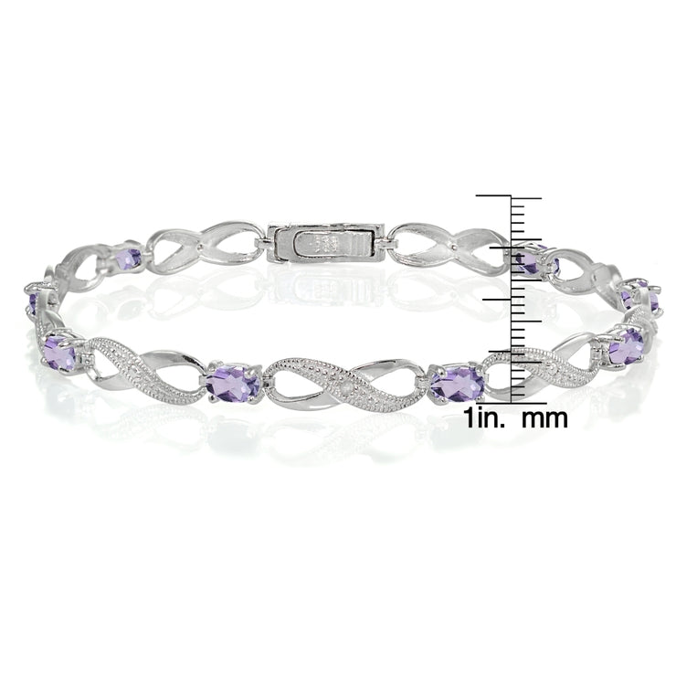Sterling Silver Amethyst and Diamond Accent Infinity Link Bracelet