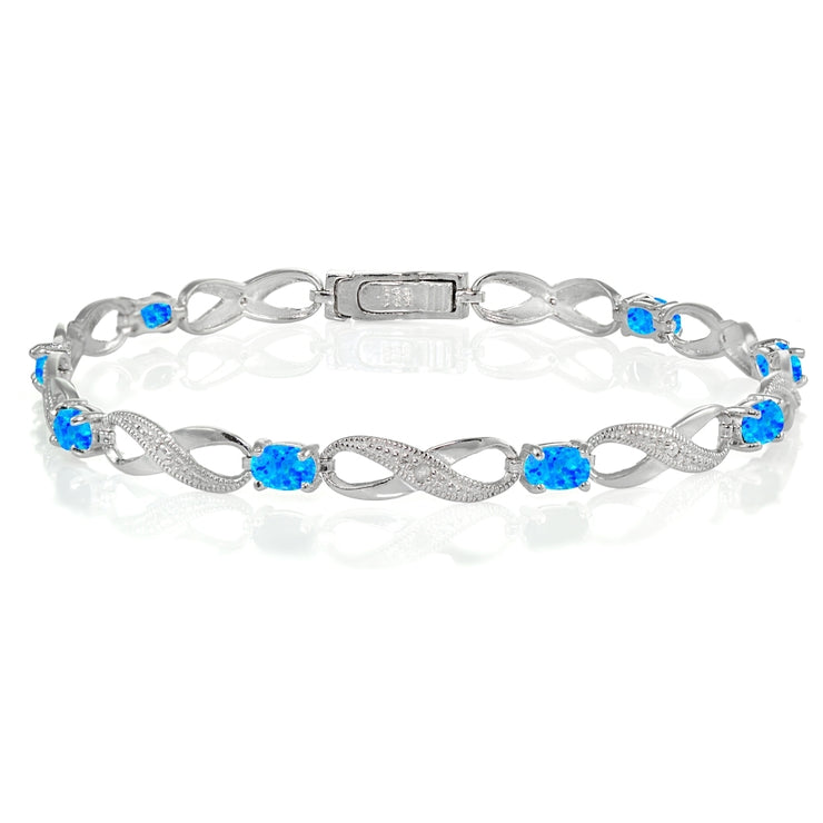 Sterling Silver Created Blue Opal and Diamond Accent Infinity Link Bracelet