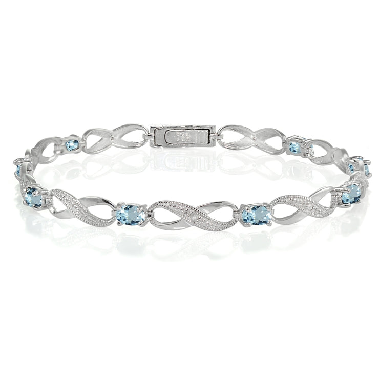 Sterling Silver Blue Topaz and Diamond Accent Infinity Link Bracelet