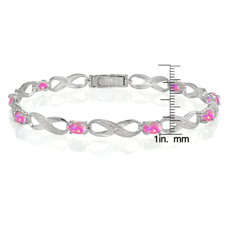Sterling Silver Created Pink Opal and Diamond Accent Infinity Link Bracelet