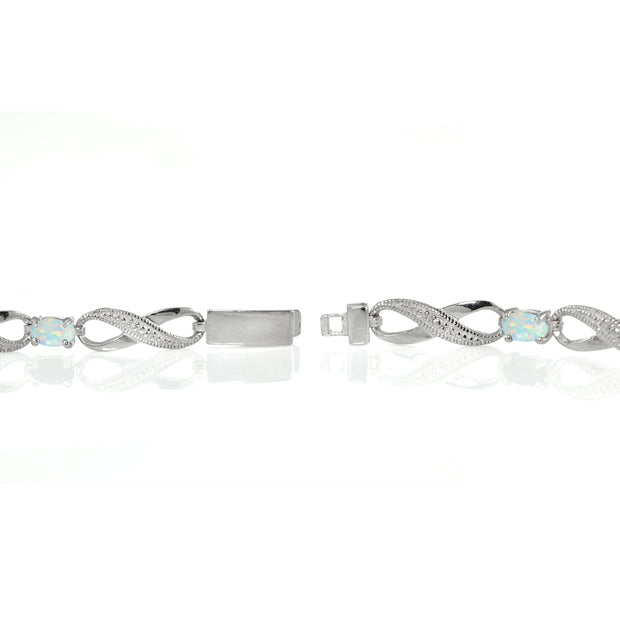 Sterling Silver Created White Opal and Diamond Accent Infinity Link Bracelet
