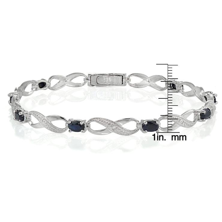 Sterling Silver Sapphire and Diamond Accent Infinity Link Bracelet
